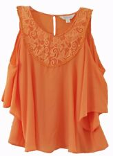 Decree Womens Size Large L Chiffon Cold Shoulder Top Blouse with Crochet