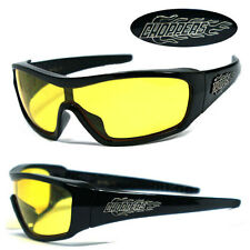 Choppers Logo Mens Oversized Flame Sunglasses -Shiny Black Frame Yellow Lens C40