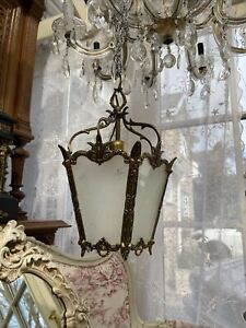 Antique Vintage French Lantern Light Lovely Condition 5 Sided With Etched Glass