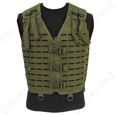 Laser Cut Tactical Vest - Olive - MOLLE Webbing Rig Combat Airsoft Army New