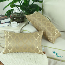 2 Pack Rectangle Cushion Covers Pillow Cover Cases Accent Geometric 12X20 Gold
