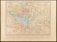 1859. France sous Hugues Capet. Capétiens. Carte géographique ancienne Houze