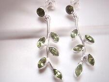 Faceted Peridot Floret Stud Earrings 925 Sterling Silver Corona Sun Jewelry