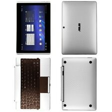 Skinomi Carbon Fiber Silver Skin Cover for Asus EEE Transformer TF101+Keyboard
