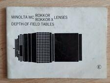 Schärfentiefe-Tabelle Minolta Rokkor Lenses, Bedienungsanleitung