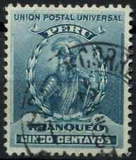 Peru 1896-1900 SG#341, 5c Turquoise Blue, Pizarro Used #E1264