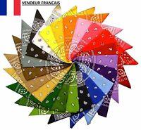 Bandana 100 % Coton 50 x 50 cm Foulard Carré Bandeau de Tête 12 Couleurs
