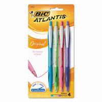 Bic Atlantis Retractable Ballpoint Pen, 1Mm, Assorted Ink/Barrel, 4/Pack