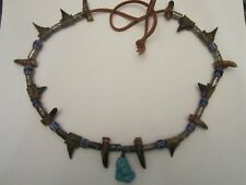 Vintage Tribal Turquoise Chevron Beads Talons Leather Necklace