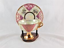 Royal Crown MOP/LUSTERWARE Pink Lace Footed Tea Cup and Saucer