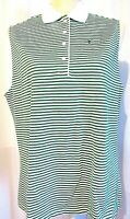 IZOD WOMEN'S WHITE GREEN STRIPED SLEEVELESS POLO TOP SIZE XLARGE NEW WITH TAGS