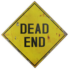 Heavy Gauge Yellow Metal DEAD END Wall Sign Road Safety/Street Traffic Warning
