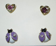 Purple Ladybug Earrings Set Heart Crystal Accents Gold Tone Pierced New 2 Pair