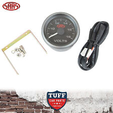 SAAS Volt Gauge Black Face Dial 52mm Multi Colour 8v - 18v + Fitting Kit