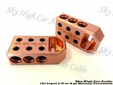 Pair of COPPER Sky High (6) 1/0 & 4 Gauge BATTERY TERMINALS BOLT USE ONLY