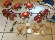 Vintage lot of Blow Mold Crabs Lobsters Marlins & Shells Fish Seafood Hong Kong