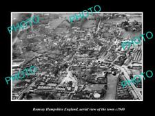OLD LARGE HISTORIC PHOTO OF ROMSEY HAMPSHIRE ENGLAND AERIAL VIEW OF TOWN c1940 1