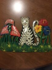 Painted Metal Cat Sculpture