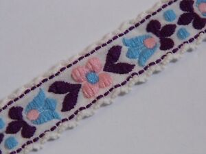 white ribbon with purple and pink flowers vintage jacquard woven 20mm R017