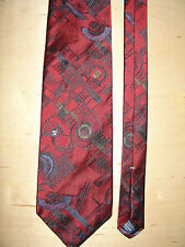 Bugatti Tie Red Abstract 57L 3.5W 100% Imported Silk Made In USA T-4