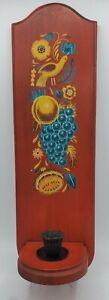 Vintage Wooden Folk Art Candle Holder Hanging Wall Mounted Sconce