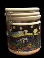 """Chaleur Masters Collection D Burrows Van Gogh Starry Night 6.5"""" Kitchen Canister"""