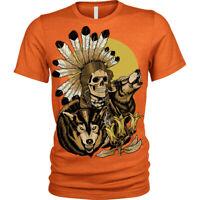 American Native Skull T-Shirt Wolf Wolves Unisex Mens