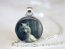 Vintage White Wolf Cabochon Tibetan silver Glass Chain Pendant Necklace