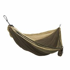 Grand Trunk Double Parachute Nylon Hammock Camping Travel Brown/Khaki New!!