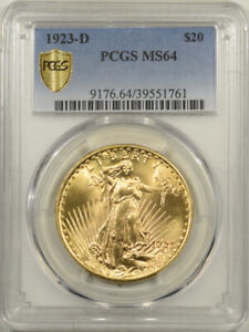 1923-D $20 ST GAUDENS GOLD - PCGS MS-64 PREMIUM QUALITY & LOOKS GEMS!