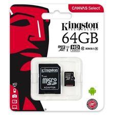100% Genuine Kingston Canvas 64GB Micro Sd/xc + Adapter Class 10 80MB/s HD Video