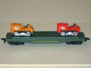 Vintage Tyco HO Scale WESTERN MARYLAND Flat Car #2475 with Two Dozers/Tractors!