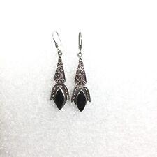 Earring Teardrop 925 Scroll Rope Bead Vintage Sterling Silver Onyx Drop Dangle