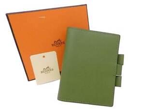 Auth HERMES Square M (2009) Mini Note/Agenda Cover Green Leather - e48159f