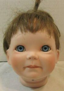 "VTG PORCELAIN/CERAMIC HEAD PARTS 4"" BLUE EYES BROWN HAIR BABY TODDLER  DOLL 8658"