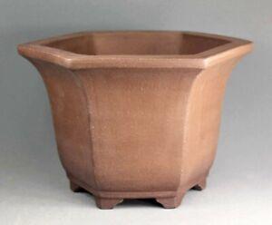 Tokoname Hexagonal Bonsai Pot by Sanpou, #27T19 : 237*208*H155mm