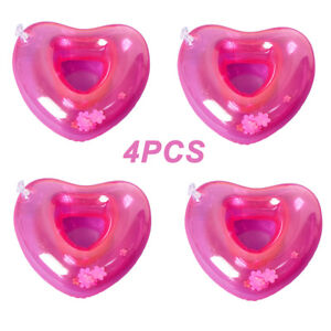 4Pcs Inflatable Coasters Float Cup Holder Gifts Pink Heart for Swimming Pool