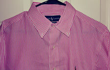Ralph Lauren Men's Red/White Striped Oxford Shirt (16-32/33)