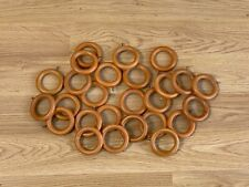 26 WOODEN BROWN CURTAIN RAIL RINGS HOOKS WITH EYES - 40mm