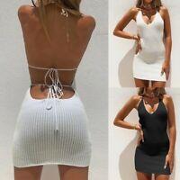 Women's Sexy Sling Mini Dress Lady Bodycon Nightclub Backless Ball Gown Dresses