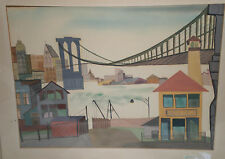 Fauvism Modernist  Benzaken 20th Cen view of  Brooklyn Bridge from water