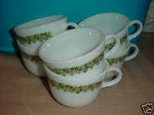 PYREX SPRING BLOSSOM GREEN CRAZY DAISY COFFEE CUPS X 6 FREE USA SHIPPING