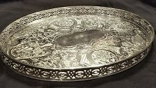 Old Sheffield Reproduction SilverPlate Oval Gallery Tea Drinks Serving Tray