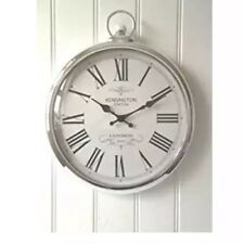 Round Silver Fob Wall Clock Chrome Effect Shabby Modern Chic Lounge Decor Home