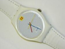 Swatch DOTTED SWISS WHITE plastic swiss quartz watch on time with leather strap