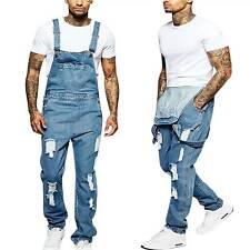 Men's Denim Jeans Overalls Dungarees Carpenter Bib Jumpsuits Pants Long Trousers