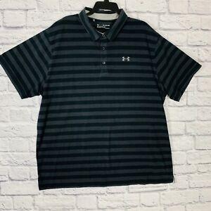 Under Armour HeatGear Loose Fit Golf Polo Men 3XL S/S Multicolor Striped Outdoor