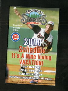 Tennessee Smokies--2008 Pocket Schedule--Cubs Affiliate