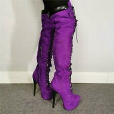 Women's Lace Up Platform High Stiletto Heels Over Knee Thigh Boots Purple US11.5