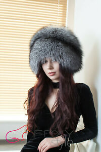 Real Silver fox fur hat with removable tail